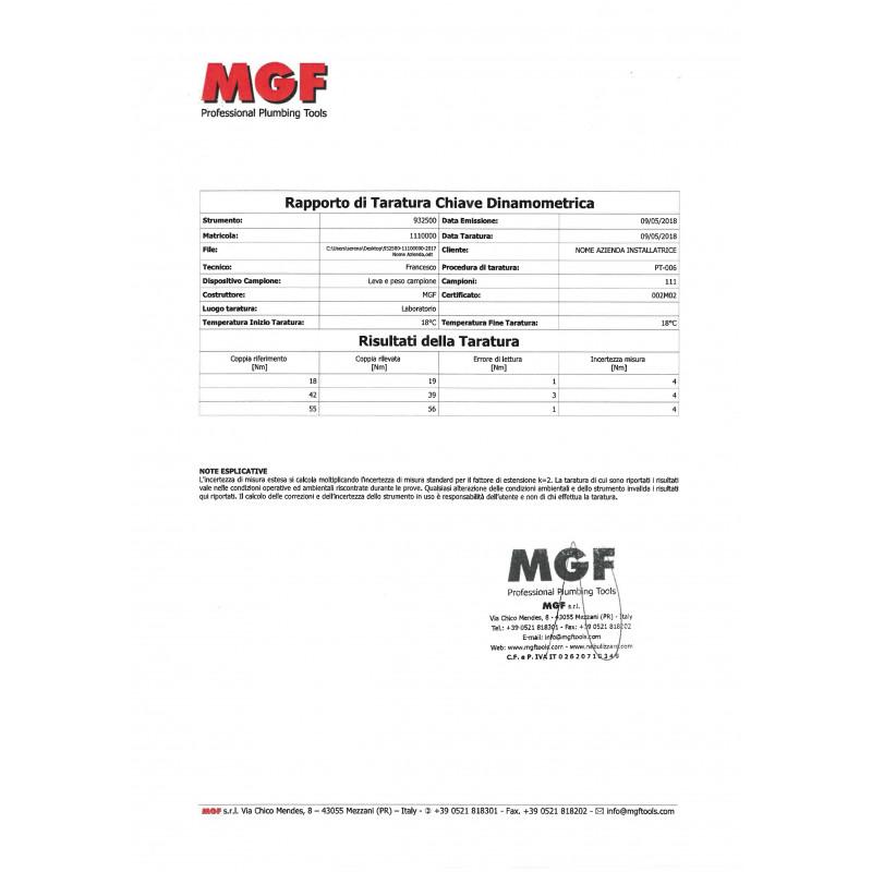 Kalibrierzertifikat Drehmomentsschlüssel