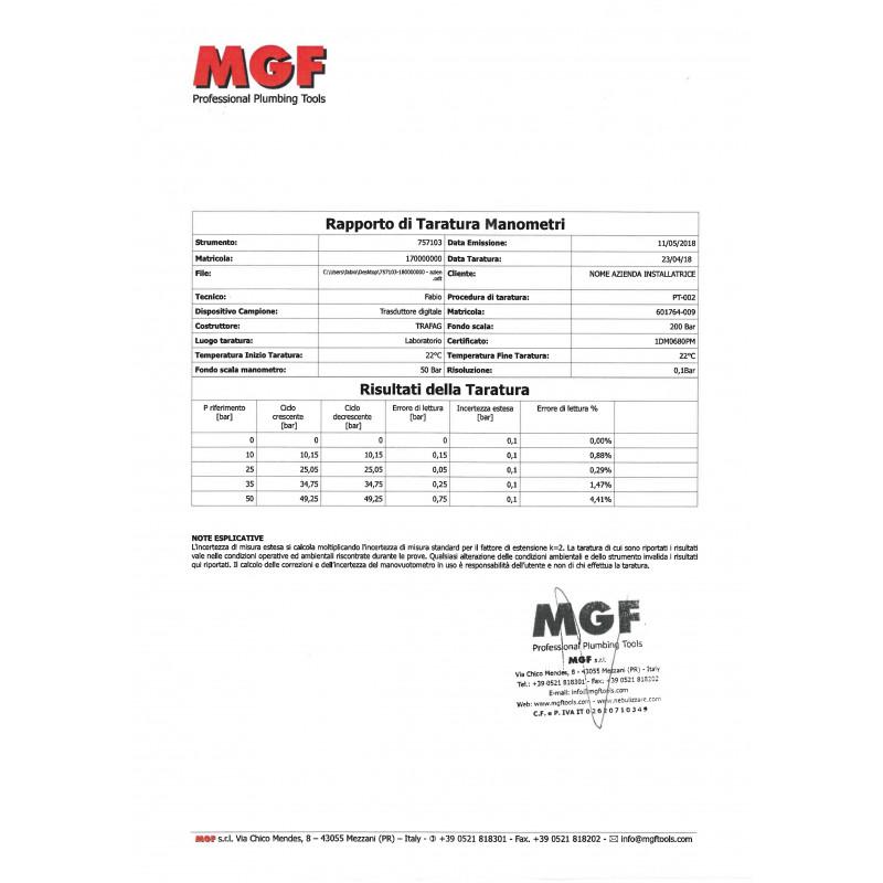 Certificato Taratura Manometro