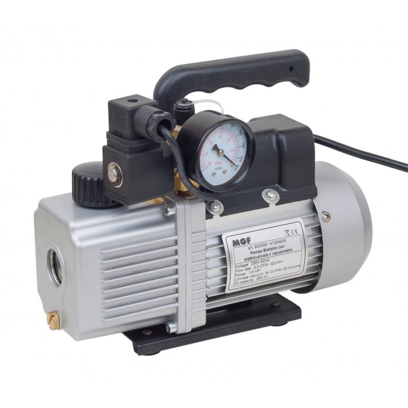 Pompe à vide avec électrovanne et vacuomètre à un étage