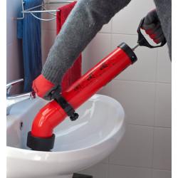Pompa disostruente sturalavandini con adattatori a ventosa e sistema push-pull
