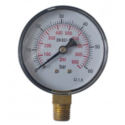 Radial Gauge Manometer 60bar Ø63mm Conical 1/4""